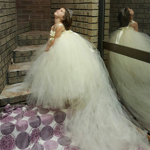 Fashion Champagne Girl Wedding Dress With Train Tulle Flower Girl Dresses Up Strapless Formal Prom Party Girls Dress W016