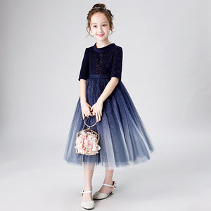3-10Ys Children Girls Wedding Evening Dress Child Princess Show Host Flower Piano Puffy Wedding Dresses Blue Wine Red