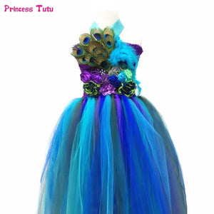 Peacock Princess Girls Tutu Dress Flower Feathers Pageant Tutu Dresses For Girls Kids Clothes Children Girl Wedding Party Dress