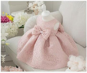 Vintage Flower Girls Dresses Children Party Ceremonies Clothing Princess Baby Girl Wedding Dress Birthday Big Bow Christening