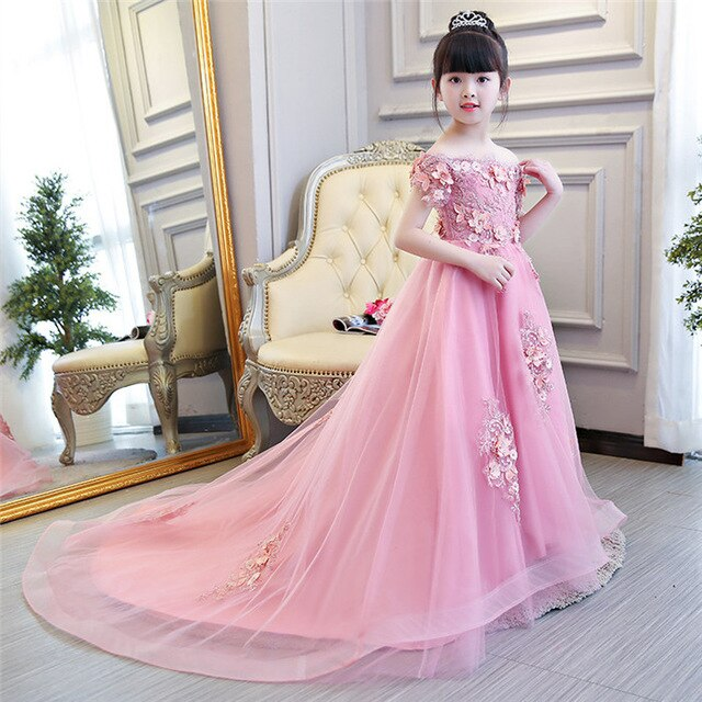 Exquisite Cute Appliques Flower Girl Wedding Dresses Kids Toddlers Evening Party Princess Birthday Dress Holy Communion Gown