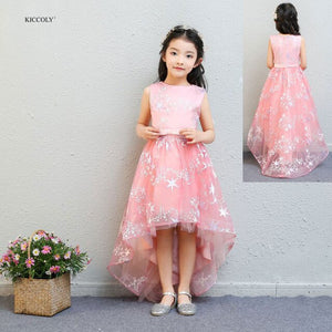 KICCOLY 2018 New Kids Girl Party Dress Girl Pink Trailing Dress Five-pointed Star Ball Gown Dress With Girls Wedding Dress 1-14Y