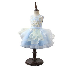 Elegant Girls Sequin Wedding Dress White Lace O-Neck Party Princess Birthday Dress First Communion Gown for Girls HW2423