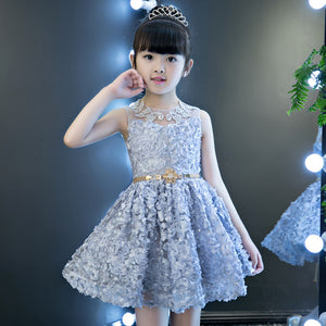 Floral Girl's Dress 2018 New Sleeveless Lovely Princess Girl Ball Gowns Embroidery Wedding Party Dresses With Sashes JF568