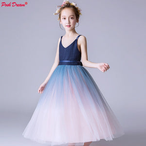 POSH DREAM Navy Blue Pink Teenager Kids Girl Party Dress V Neck Children Princess Wedding Dresses 2019 New Fashion Dress Girl