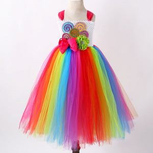 Cute Candy Rainbow Color Princess Girl Tutu Dress Christmas Flower Baby Girl Dress Birthday Party Wedding Dress With Headwear