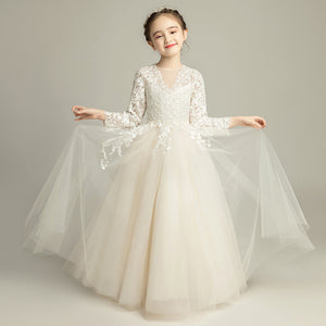 Champagne Holy Communion Dress Long Sleeve Flower Girl Dresses for Wedding Evening Dress Ball Gown Kids Pageant Dress Birthday