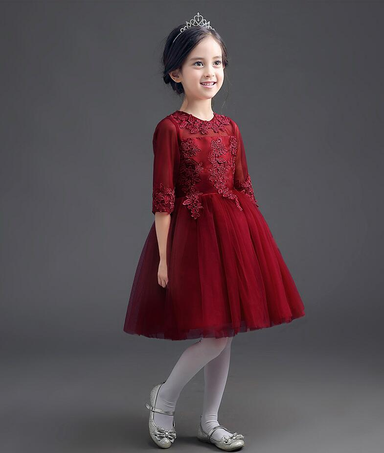Flower appliques dress burgundy kid girl long sleeve wedding dress lace mesh princess party ball gown clothes tutu costumes YY53