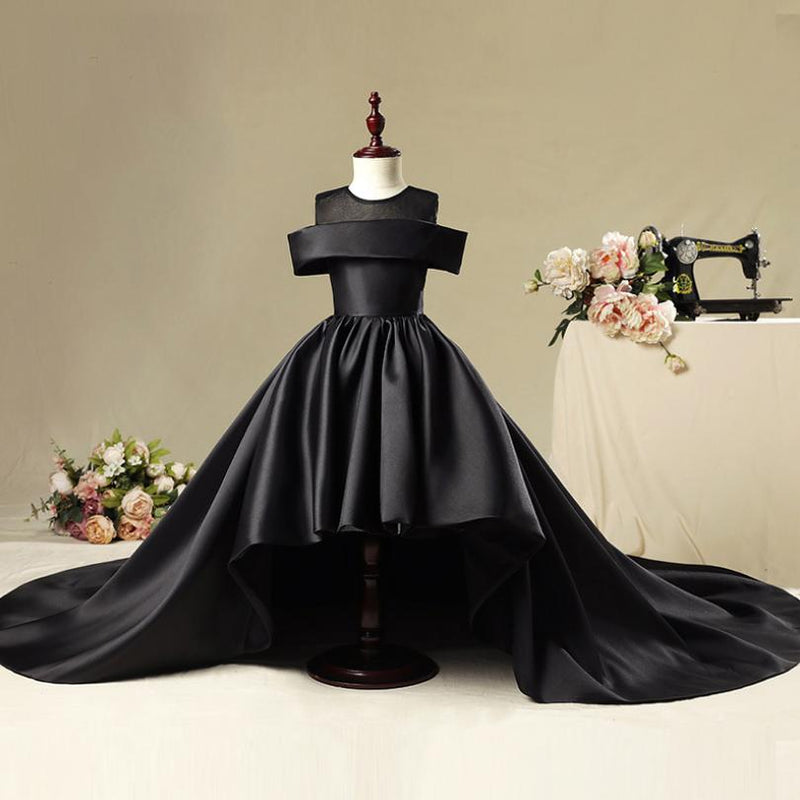 Spring New Kids Girls Trailing Dress Wedding Party Pageant Dress Children Princess Formal Prom Gowns Teens Solid Vestidos Y613