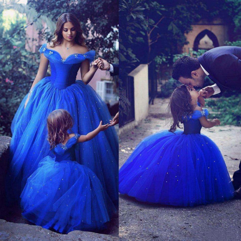 Flower Girl Dresses Special Occasion for Weddings Blue Kids Pageant Dresses Off Shoulder Beaded Ball Gown Mother Girl Dresses