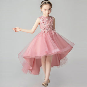Children Girls Elegant Half-Sleeves High-Quality Birthday Wedding Party Tail Prom Dress Teens Kids Host Costumes Piano Dress