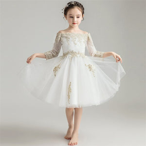 Children Girls Luxury Shoulderless Collar Birthday Wedding Party Dress High Quality Embroidery Lace Dress For Piano Costume