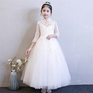 2018 New High Quality Children Girls Pure White Color Princess Lace Wedding Birthday Dress Kids Babies Elegant Model Show Dress