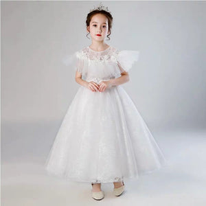 Summer High-quality Children Girls Elegant White Color Wedding Birthday Party Long Princess Dress Kids Teens Piano Host Dress