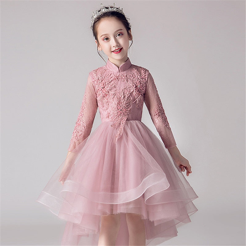 High Quality Children Teens Embroidery Lace Birthday Wedding Party Front Short Back Long Tail Dress Girls Evening Party Dress
