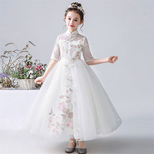 High Quality Children Girls Elegant Pure Pink Birthday Wedding Party Princess Long Dress Kids Teens Piano Host Costume Dress