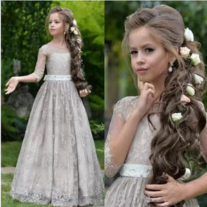 Princess High Quality Customized Flower Girls Dresses For Weddings Sheer Lace Appliques Tulle Girls Pageant Gown