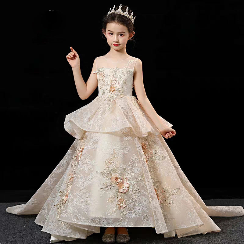 High-Quality Children Girls Luxury Flowers Lace Birthday Wedding Party Long Tail Dress Kids Teens Model Performance Host Dress