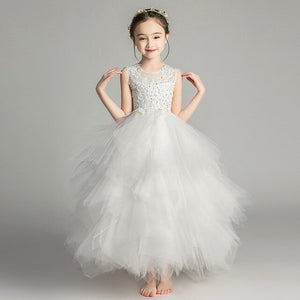 Girls' Evening Dress Flower Girl Wedding Formal Party Princess High-end Dress Piano Show Costumes with  Removable Trailing