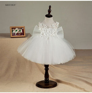 KICCOLY Fancy Big Butterfly Kids Girl Wedding Flower Girls Dress Princess Party Pageant Formal Dress Prom Little Baby Girl Gown