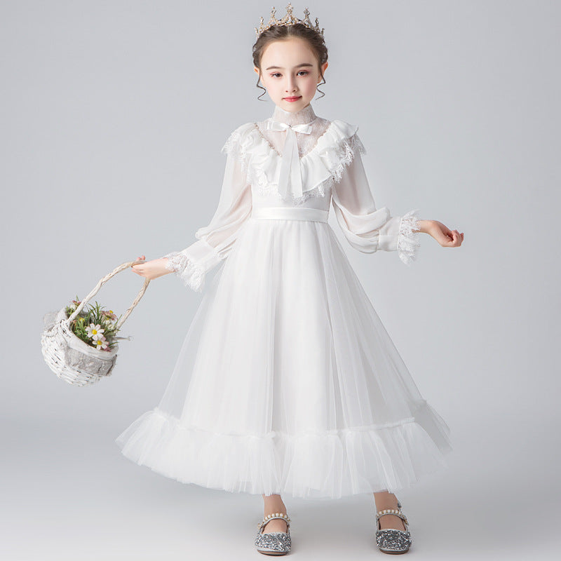 White Long Sleeve Flower Girl Dresses for Wedding High Collar Beading First Holy Communion Dress Lantern Sleeve Girls Party Gown