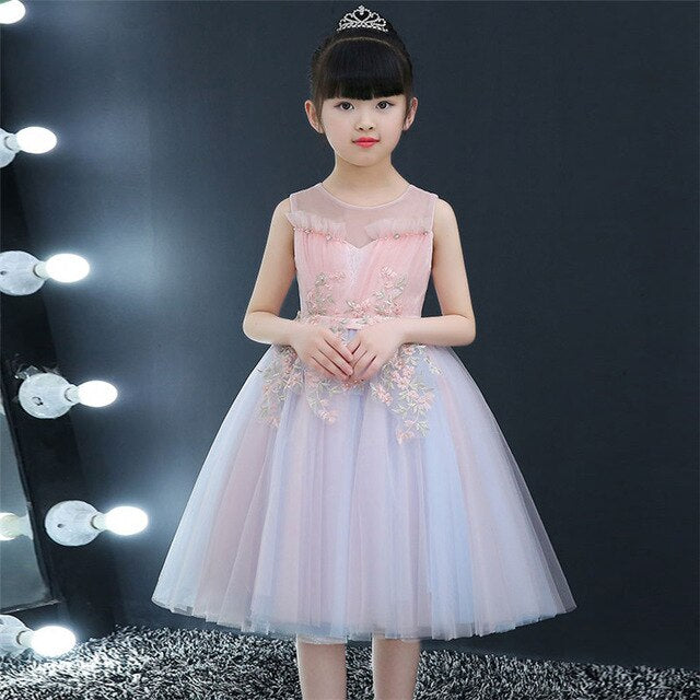 2019Korean Sweet Infant Baby Girls Birthday Wedding Party Princess Mesh Dress Little Kids Children 3~14Years Piano Dress Clothes