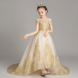 3-12 Years 8 Styles Gold Bling Flower Girl Dresses for Wedding Ball Gown Royal Princess Dress First Holy Communion Dress B490