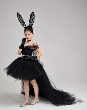 Baby Black Princess Dresses Ball Gown Short Sleeve Flower Girl Dress for Wedding Trailing First Holy Communion Dress Mesh A66