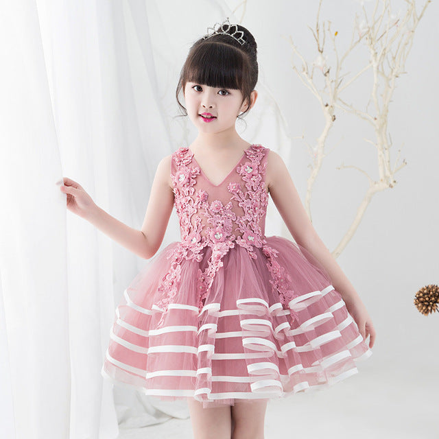 Appliques Cute Princess Dress Party Vestidos Beading Flower Girl Dresses for Wedding Evening Gowns Ball Gown Kids Birthday Dress