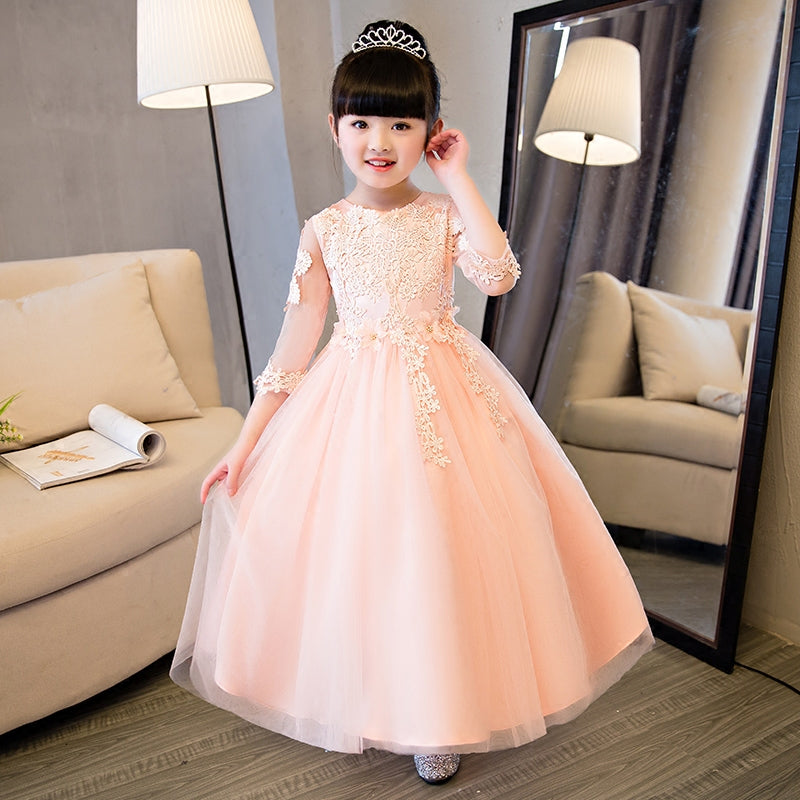 2~14Years Children Girls Embroidery Lace Flowers Birthday Wedding Party Dress Kids Baby Host Costume First Communication Dress