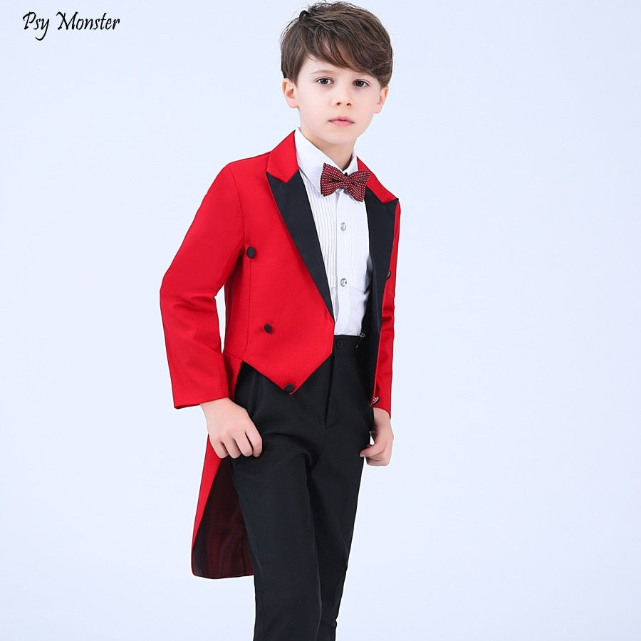 Formal Children Dresses Tuxedo Sets Flower Boys Host Wedding, Piano Costume Kids Tuxedo Shirts Pants Bowtie 4PCS Outfits