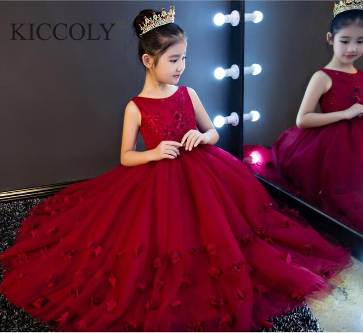 Red Tulle Girl Dress Flower Girl Dress for Party Pageant Appliques Lace Long Princess Wedding Dress Girls First Communion Gown