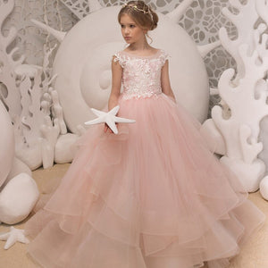 Flower Girls Pink Sheer Back Tulle O-neck Ball Gowns Multilayer Little Girls First Communion Formal Wedding Dress