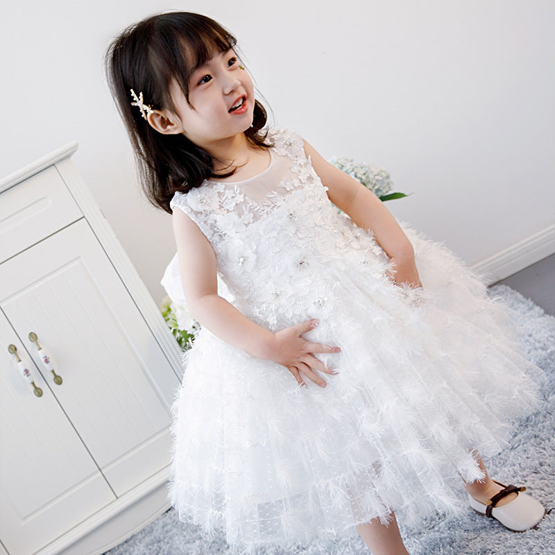 Royal Princess Dress Feather Petals Flower Girl Dresses for Wedding Kids Pageant Dress for Birthday Party B457