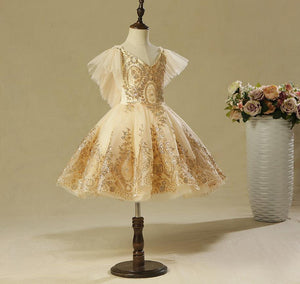 Elegant Golden Tulle Flower Girl Dress Party Kids Pageant Gown Princess Wedding Dress Sleeveless First Communion Dresses HB2370