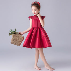 Red Flower Girl Dresses for Wedding Lace Pleated Princess Dress Party Vestidos Satin Kids Pageant Dress for Birthday Costume