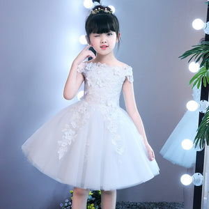 Children birthday dress 2 year old baby girl princess one shoulder wedding flower girl ball gowns white shoulder-less fairy kids