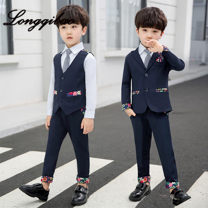 Longqibao Children's Clothing 2019 Autumn Boy New Small Suit Korean Children's Suit Wedding Flower Girl Dress Children's Clothes