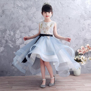 2019 Summer Girl Lace Tulle Princess Dress Children Sequins Trailing Prom Gown Teens Birthday Wedding Party Dress For Girl Y1207