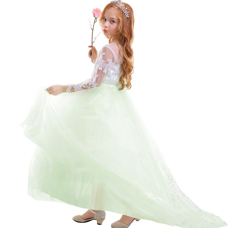 Elegant Baby Kid Girls Dress Long Sleeve Lace Tulle Trailing Long Dress for Princess Wedding Bridesmaid Dresses for Kids Girls