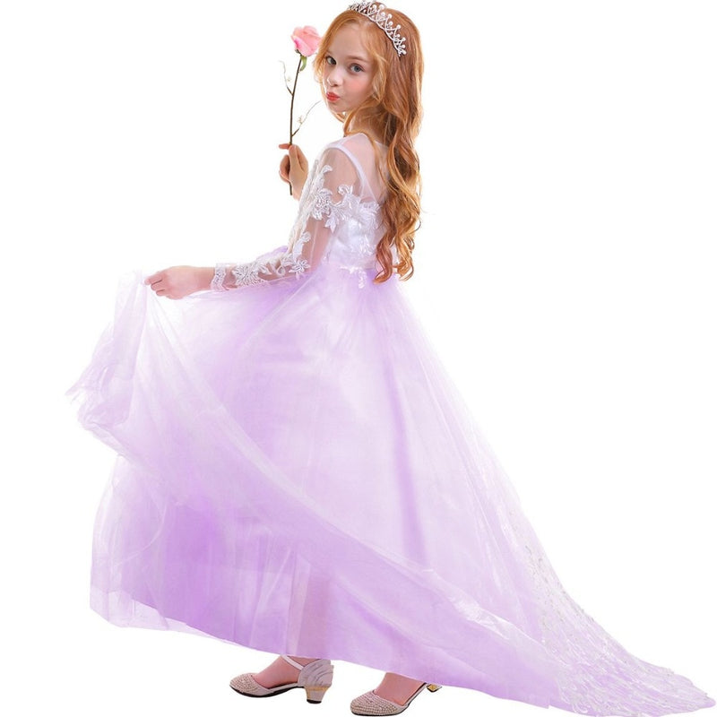 Elegant Kids Dresses for Girls Long Sleeve Lace Tulle Trailing Long Dress Girls Photography Wedding bridesmaid dresses for Kids