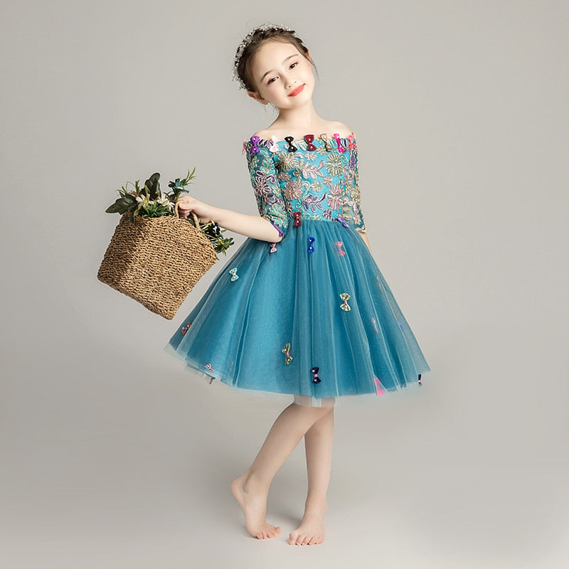 Baby little girl birthday dress fairy princess ball gowns show stage piano costume blue evening wedding one shoulder lovely kids