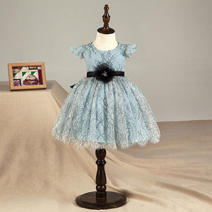 Flower Baby Girl Christmas  Dress Blue Toddler Tutu Wedding Birthday Princess Dress For Girls Children's Costume Teenager Gown