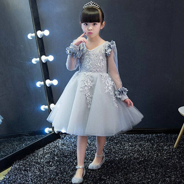 New Spring Summer Lace Embroideried Girls Wedding Party dress long sleeve girl costume snow white party dress girls clothes