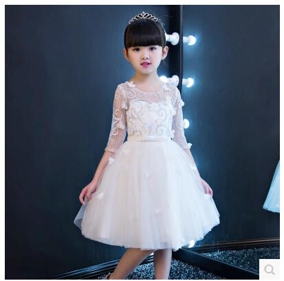 Elegant Girl Evening Dress 2018 New Fashion Kids White Ball Gown Dresses Long Trailing Birthday Party Wedding Floral dress JF391