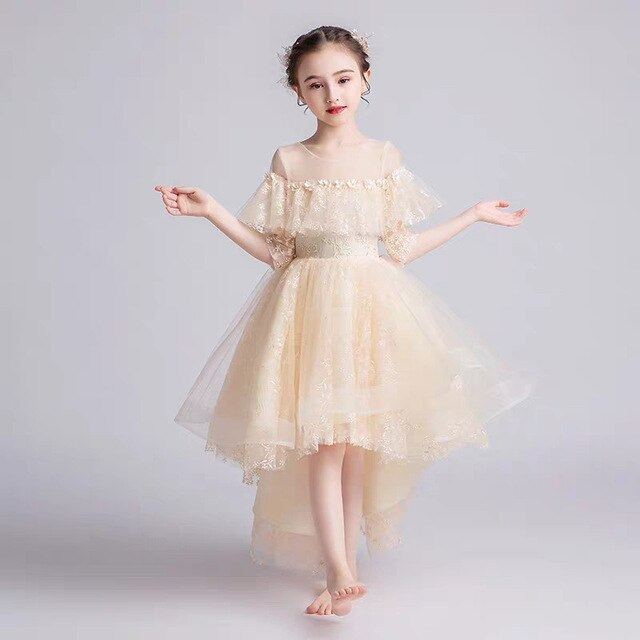 Children Girls Luxury Fancy Champagne Wedding Birthday Party Long Dress Kids Children Communion Dress Christmas Party Clothes