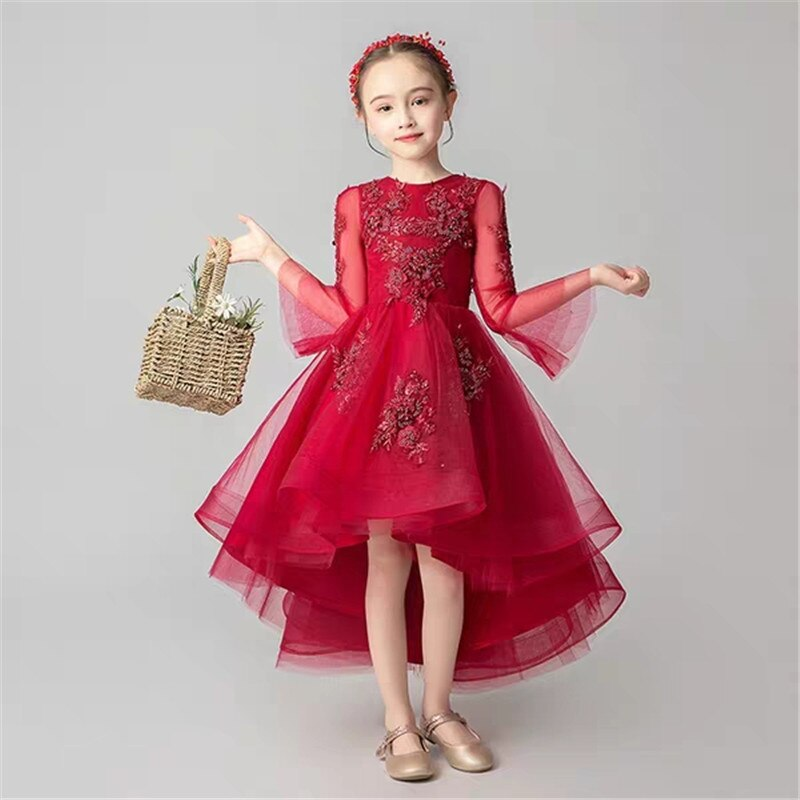 High Quality Children Girls Elegant Wine-red Appliques Flowers Birthday Wedding party Dress Kids Teens Host Costumes Dress Wear