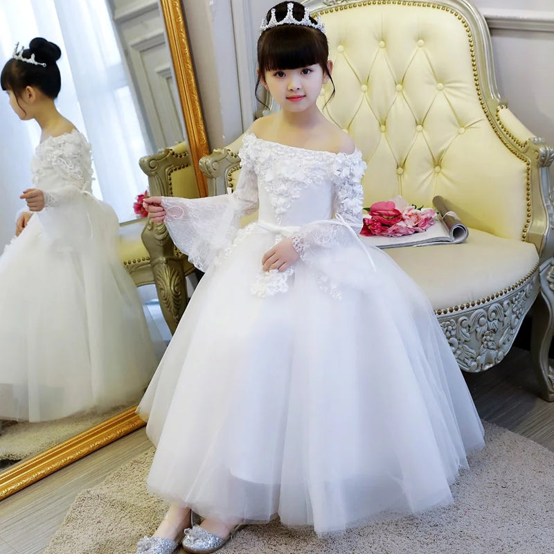 2019Summer Elegant Children Girls Shoulderless Birthday Wedding Party Princess Long Dress Kids Teens Host Piano Costumes Dress