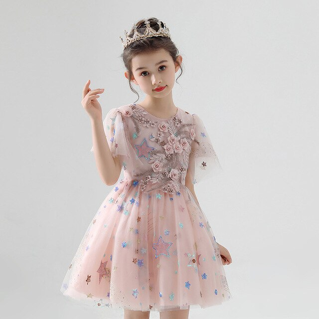 Good-Quality New Children Day Ceremony Appliques Flowers Birthday Wedding Party Princess Dress Girls Host Pageant Tutu Dress