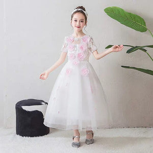 Children Girls Korean Sweet Pink Color Birthday Wedding Party Princess Mesh Dress Kids Teens Nice Appliques Flowers Tutu Dress